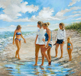 Name of Picture: THE BEACH GIRLS Medium: OILS Size: 24x30 Price: $1000.00 Contact: 843-454 6038 E-Mail: dennystevenso@aol.com