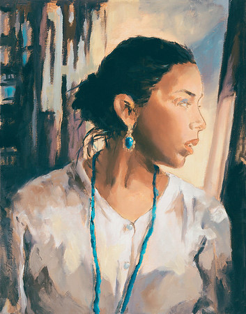 Name of Picture: TEAL NECKLACE Medium: OIL ON CANVAS Size: 14 X18 Price: $650.00 Contact: 843-454 6038 E-Mail: dennystevenso@aol.com