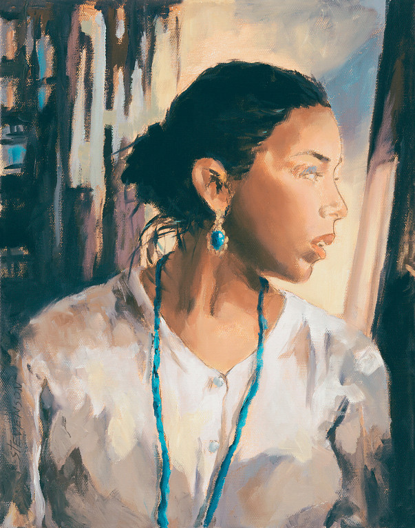 Name of Picture: TEAL NECKLACE<br /> Medium: OIL ON CANVAS<br /> Size: 14 X18<br /> Price: $650.00<br /> Contact: 843-454 6038<br /> E-Mail: dennystevenso@aol.com