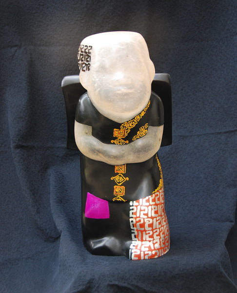 Artist - Dinh Cong Dat<br /> Description - School Boy Sculpture - 21  <br /> Media - Composite with lacquer, gold and silver leaf and pigments<br /> Individual Dimensions - Height - 50cm<br /> Status - Private Collection Houston, Texas