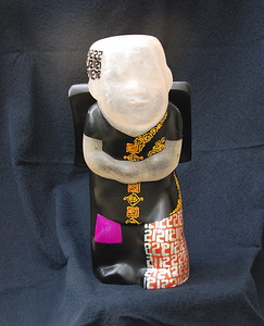 Artist - Dinh Cong Dat Description - School Boy Sculpture - 21   Media - Composite with lacquer, gold and silver leaf and pigments Individual Dimensions - Height - 50cm Status - Private Collection Houston, Texas