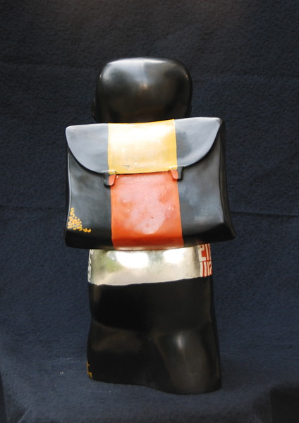 Artist - Dinh Cong Dat<br /> Description - School Boy Sculpture - 25 <br /> Media - Composite with lacquer, gold and silver leaf and pigments<br /> Individual Dimensions - Height - 50cm<br /> Status - Private Collection Singapore    <br /> <br /> Exhibited at the  ANA InterContinental Hotel