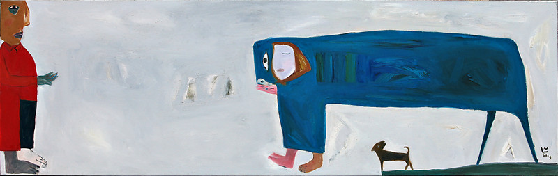 Ha Tri Hieu, Day, 2009. Oil on canvas, 87 x 27 in (217 X 68 cm).