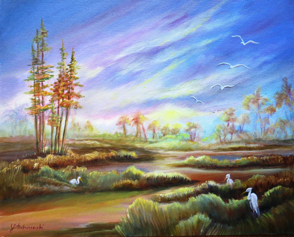 Name: Golden Marsh<br /> Medium: Oil  (Gallery Wrapped)<br /> Size: 16 X 12 <br /> Price: $350<br /> Contact: Jackie Stacharowski<br /> E-Mail: Artist Jackie@yahoo.com