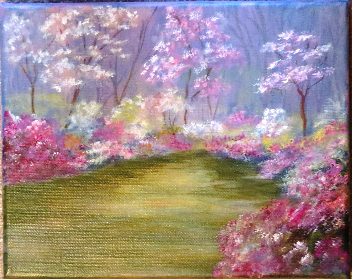 Name: Spring Garden<br /> Medium: Acrylic (Framed)<br /> Size: 8 X 10 <br /> Price: $60<br /> Contact: Jackie Stacharowski<br /> E-Mail: Artist Jackie@yahoo.com