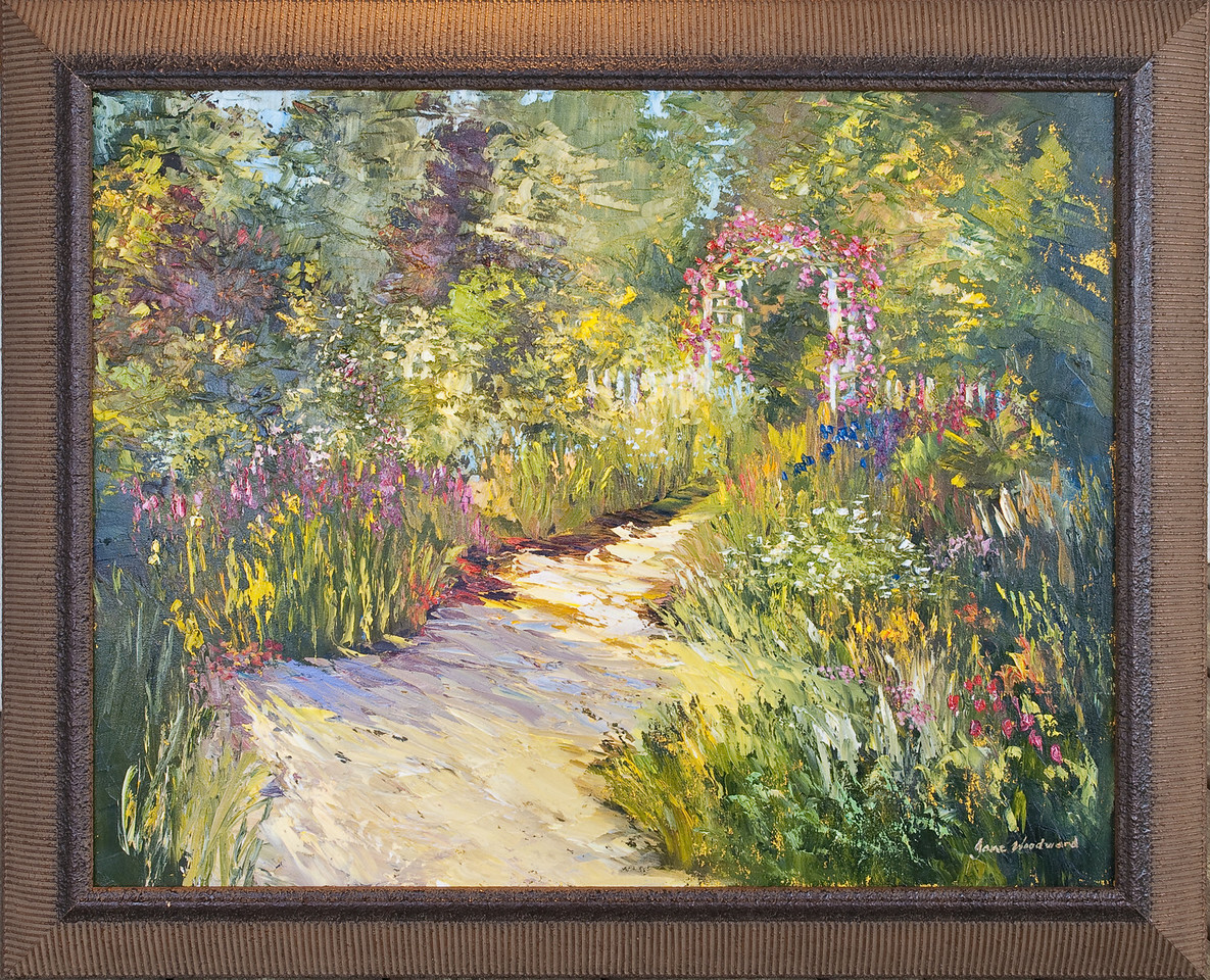 """Name: The Garden""""<br /> Medium: Oil & Palette Knife<br /> Size:<br /> Price: $<br /> Contact: Jane Woodward<br /> E-Mail: JaneWoodward@msn.com"""