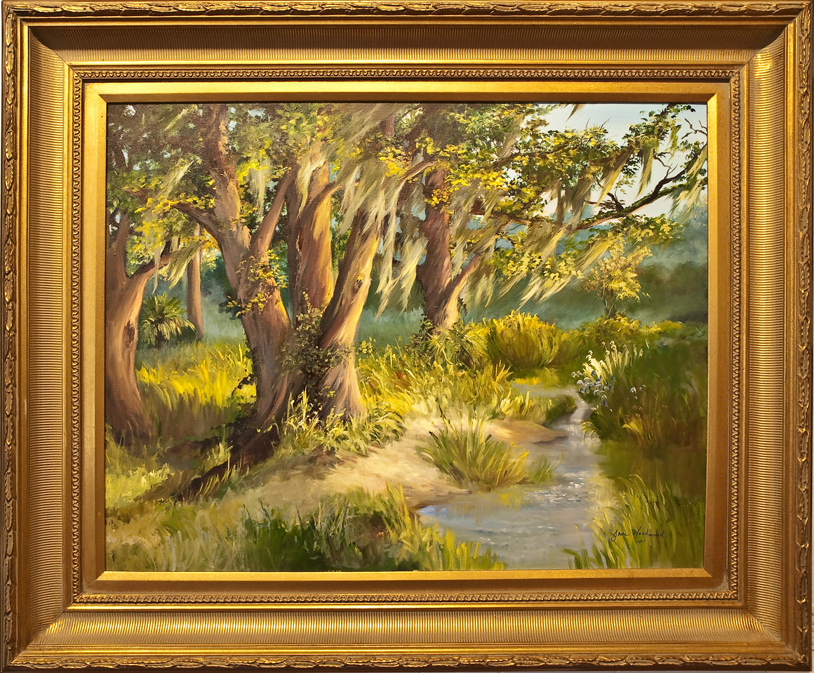 Name: Moss in the Mighty Oaks<br /> Medium: Oil on Canvas<br /> Size: 28x22<br /> Price: $2250<br /> Contact: Jane Woodward<br /> E-Mail:  JaneWoodward@msn.com