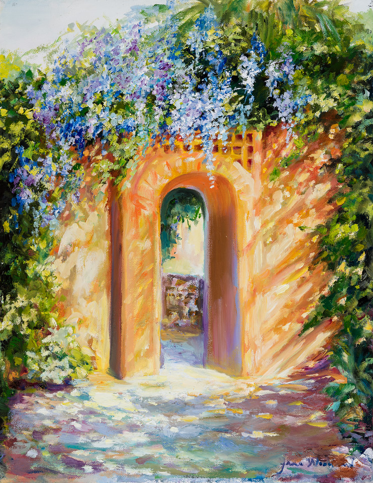 Name: Atalaya with Wisteria<br /> Medium: Oil<br /> Size: 14 X 18<br /> Price: $<br /> Contact: Jane Woodward<br /> E-Mail: JaneWoodward@msn.com
