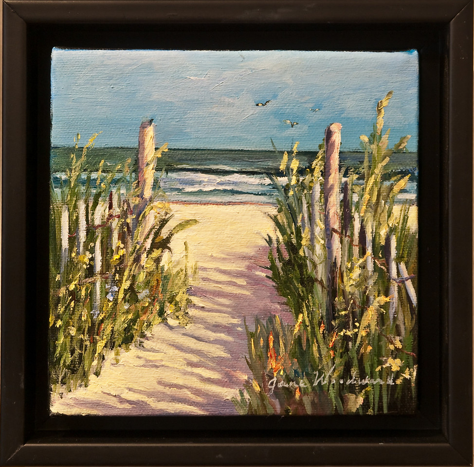"""Name: Public Access<br /> Medium: Oil<br /> Size: 6""""x6""""<br /> Price: $185<br /> Contact: Jane Woodward<br /> E-Mail:  JaneWoodward@msn.com"""