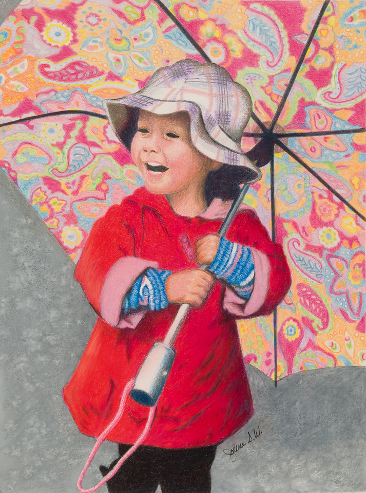 Name: Laughing In The Rain<br /> Medium: Colored Pencil <br /> Size: 9 X 12<br /> Price: $<br /> Contact: Jolene Stinson Williams <br /> Email: jolenestinson@yahoo.com <br /> Contact Jolene to purchase prints