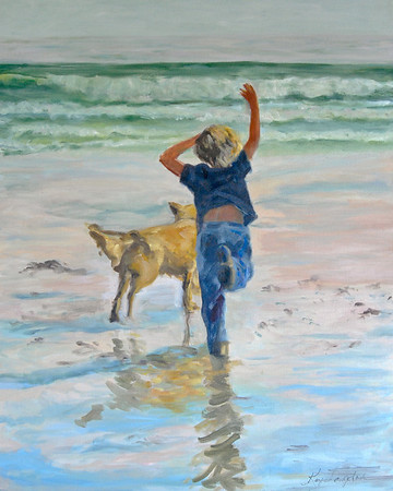 Name: Boy Running Medium: Oil on Canvas Size:  24x30 Contact: Kay Langdon E-Mail: kdlangdon@yahoo.com