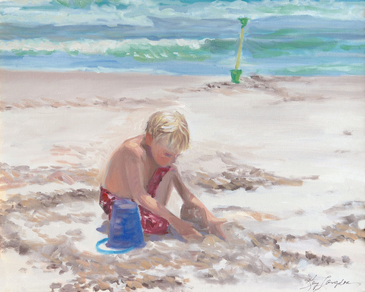 Name: Boy at Pawleys Beach - SOLD<br /> Medium: Oil on Canvas<br /> Size:  16x20<br /> Contact: Kay Langdon<br /> E-Mail: kdlangdon@yahoo.com