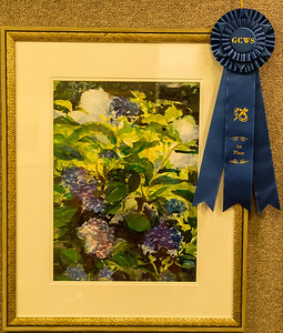 "Kay recently won first place in the Georgetown Watercolor Society Art Show held at the Rice Museum in Georgetown, SC.  with her watercolor ""Hydrangea"" - November 2013"