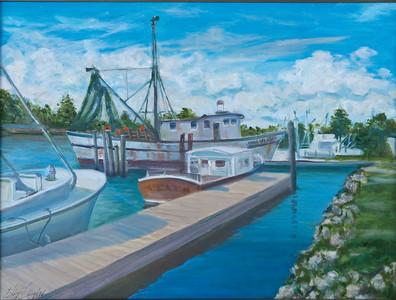 Name: At Dock Medium: Oil on Canvas Size:  18x24 Contact: Kay Langdon E-Mail: kdlangdon@yahoo.com