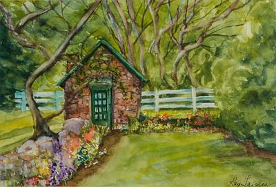 Name: Garden Cottage Medium: watercolors Size:  16x20 Contact: Kay Langdon E-Mail: kdlangdon@yahoo.com