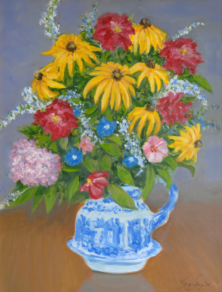 Name: Summer, Flowers, SOLD<br /> Medium: Oil on Canvas<br /> Size:  18x24<br /> Contact: Kay Langdon<br /> E-Mail: kdlangdon@yahoo.com