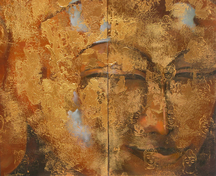 Khin Zaw Latt, Age Old (5) – Golden Buddha, in 2 panels. Acrylic on canvas, 2010. 36 X 36 in. (diptych)