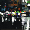 Shopping in the Rainy Night 2011. Acrylic on canvas.40 X 24 in.