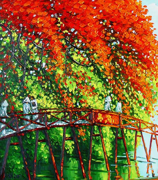 Le Thanh Son - Morning on the Huc Bridge