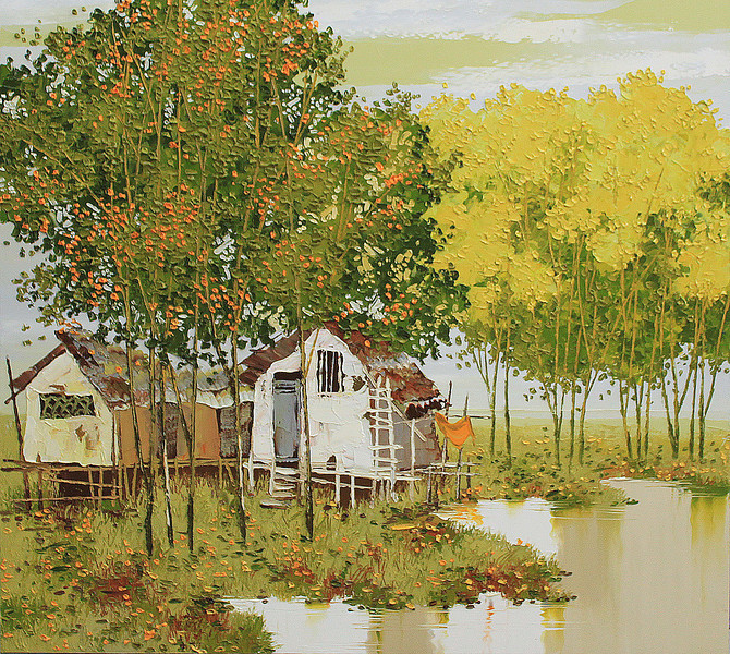 Lim Khim Katy, Mekong River View; Oil on canvas; 36 x 40 in ; 2013