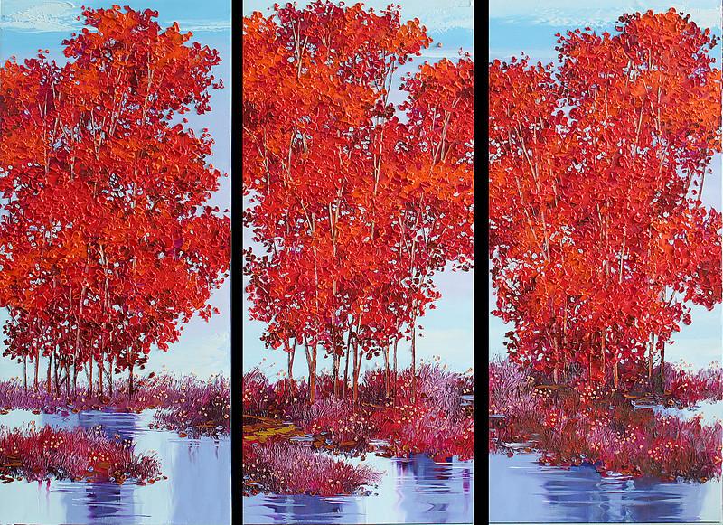 Lim Khim Katy, Warm Zone, Enamel on Canvas, 2014. 54 X 40 in (tryptich) <b> SOLD </b>