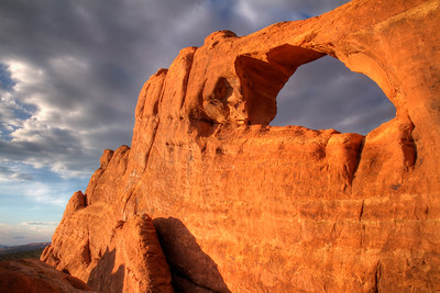 Skyline Arch, late afternoon.   Arches National Park, Utah