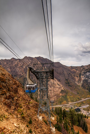 Tram to the summit.      Snowbird, Utah