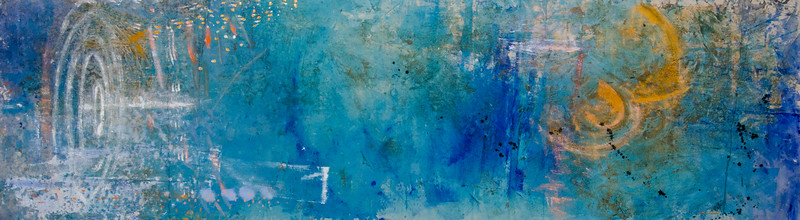 into the water, 203 x 16 - mixed media on canvas