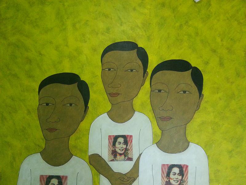Min Zaw, Ordinary People (12). Acrylic on canvas, 2014. 50 X 36 in.