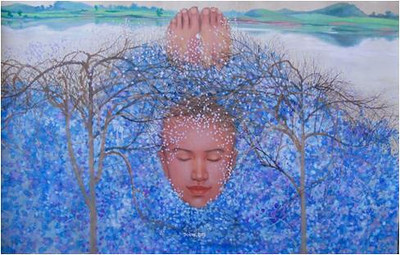 Nguyen Minh Thanh, Blue Nest, 2012. Guoache on Dzo Paper, 47 X 28 in.