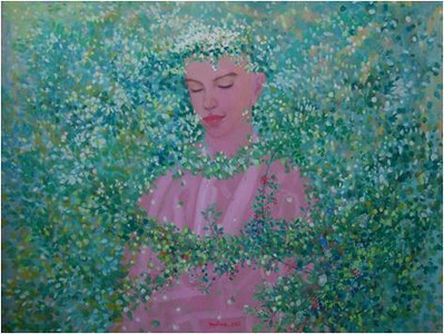 Nguyen Minh Thanh, Green Prayer, 2012. Guoache on Dzo Paper, 32 X 47 in.