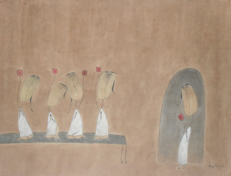 Nguyen Quang Minh, Odd one out, Watercolour, 2014.<br />  24 X 35 in.
