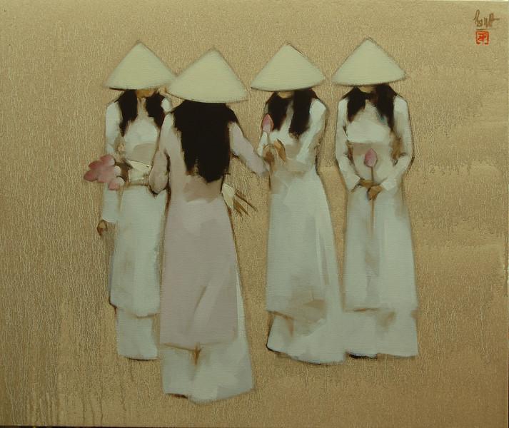 Schoolgirls with Lotus