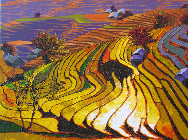 Ngwe Aung, Wonder in the land (3), 2013. Acrylic on canvas, 48 X 36 in. <b>(SOLD)</b>