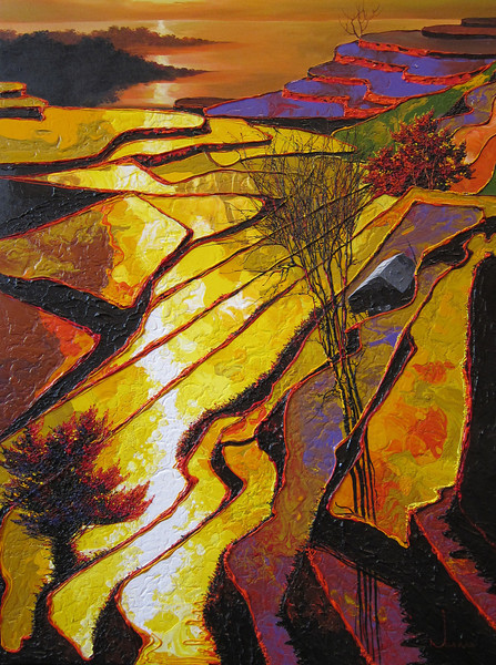 Ngwe Aung, Wonder in the land (4), 2013. Acrylic on canvas, 48 X 36 in.<b> SOLD </b>