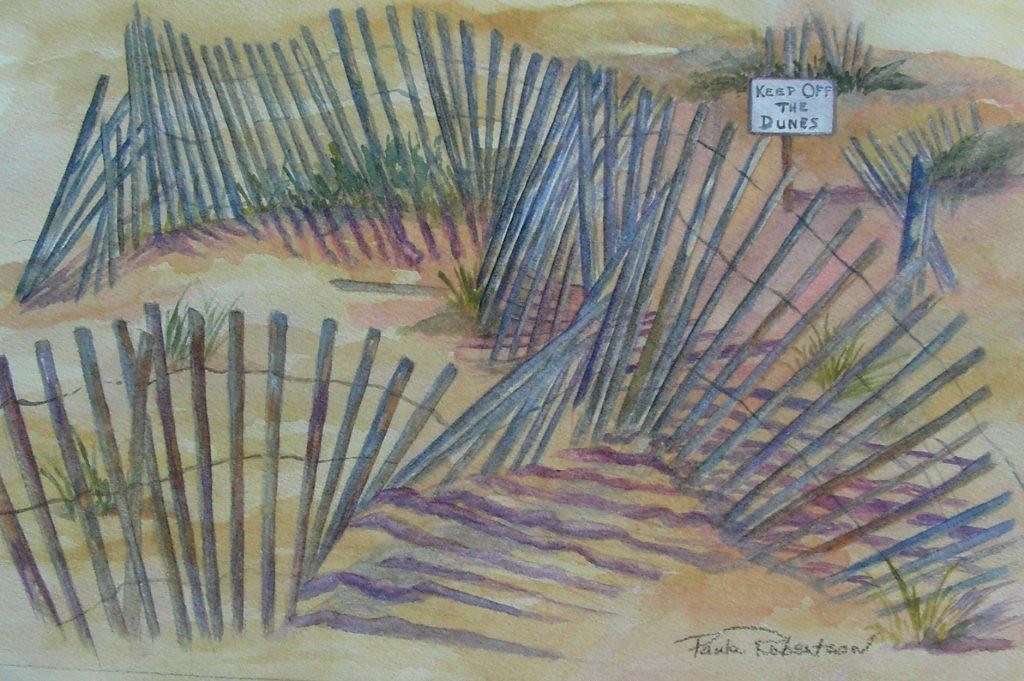 Name: Beach Fences<br /> Medium: Watercolor<br /> Size: 7 x 11<br /> Matted and framed<br /> Price: $175.00<br /> E-Mail: paulamrobertson@yahoo.com
