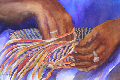 Name: Hands of a Basketweaver Medium: Acrylic on Paper Size: 11 x 15 Price: $450 Contact: Paula Robertson E-Mail: paulamrobertson@yahoo.com