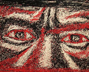 Pen Robit, Untitled, 2012. Enamel on canvas, 40 x 36 in.  SOLD