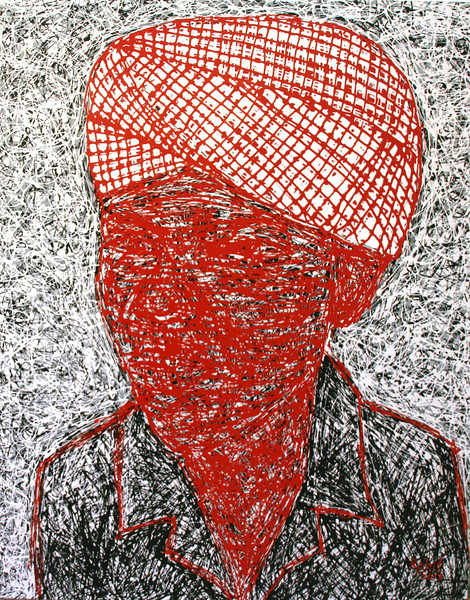 Pen Robit, Untitled (Red face), Enamel on canvas, 2011. 44 X 53 in.