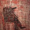 Pen Robit, Untitled, 2012. Enamel on canvas, 44 x 56 in.,
