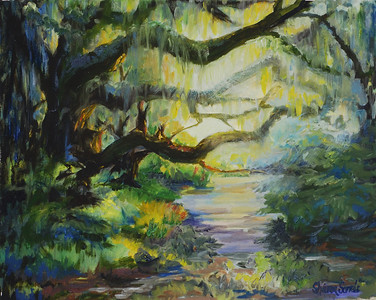 Name: Backlit Oaks Medium: Oil on Canvas Size: 21 1/2 x 25 1/2  Contact: Sharon Sorrels E-Mail: sorrelssf@usa.net  To see more of Sharon's art or to make a purchase, go to www.sharonsorrels.com.