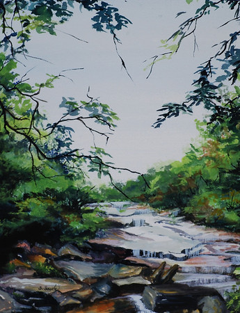 Name: Rocky Stream Medium: Watercolor Size: 17 3/4 x 21 34 Contact: Sharon Sorrels E-Mail: sorrelssf@usa.net  To see more of Sharon's art or to make a purchase, go to www.sharonsorrels.com.