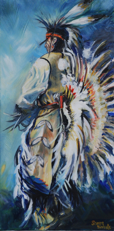 "Name: PauWau Fancy Dancer II<br /> Medium: Oil on Canvas<br /> Size: 17 x 29<br /> Contact: Sharon Sorrels<br /> E-Mail: sorrelssf@usa.net <br /> To see more of Sharon's art or to make a purchase, go to  <a href=""http://www.sharonsorrels.com"">http://www.sharonsorrels.com</a>."