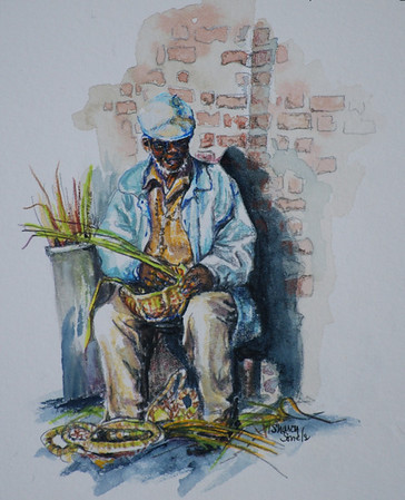 Name: Charleston Artisan (SOLD) Medium: Watercolor and Colored Pencil Size: 14 x 15  Contact: Sharon Sorrels E-Mail: sorrelssf@usa.net  To see more of Sharon's art or to make a purchase, go to www.sharonsorrels.com.