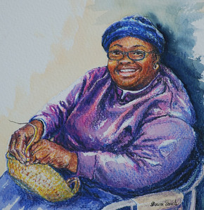 Name: Charleston Artisan with Blue Hat (SOLD) Medium: Watercolor and Colored Pencil Size: 15 x 15  Contact: Sharon Sorrels E-Mail: sorrelssf@usa.net  To see more of Sharon's art or to make a purchase, go to www.sharonsorrels.com.