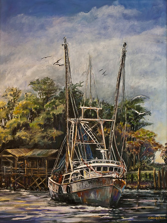Name: Shrimp Boat - SOLD Medium: Oil on Canvas Size: 36 x 46 Contact: Sharon Sorrels E-Mail: sorrelssf@usa.net  To see more of Sharon's art or to make a purchase, go to www.sharonsorrels.com.