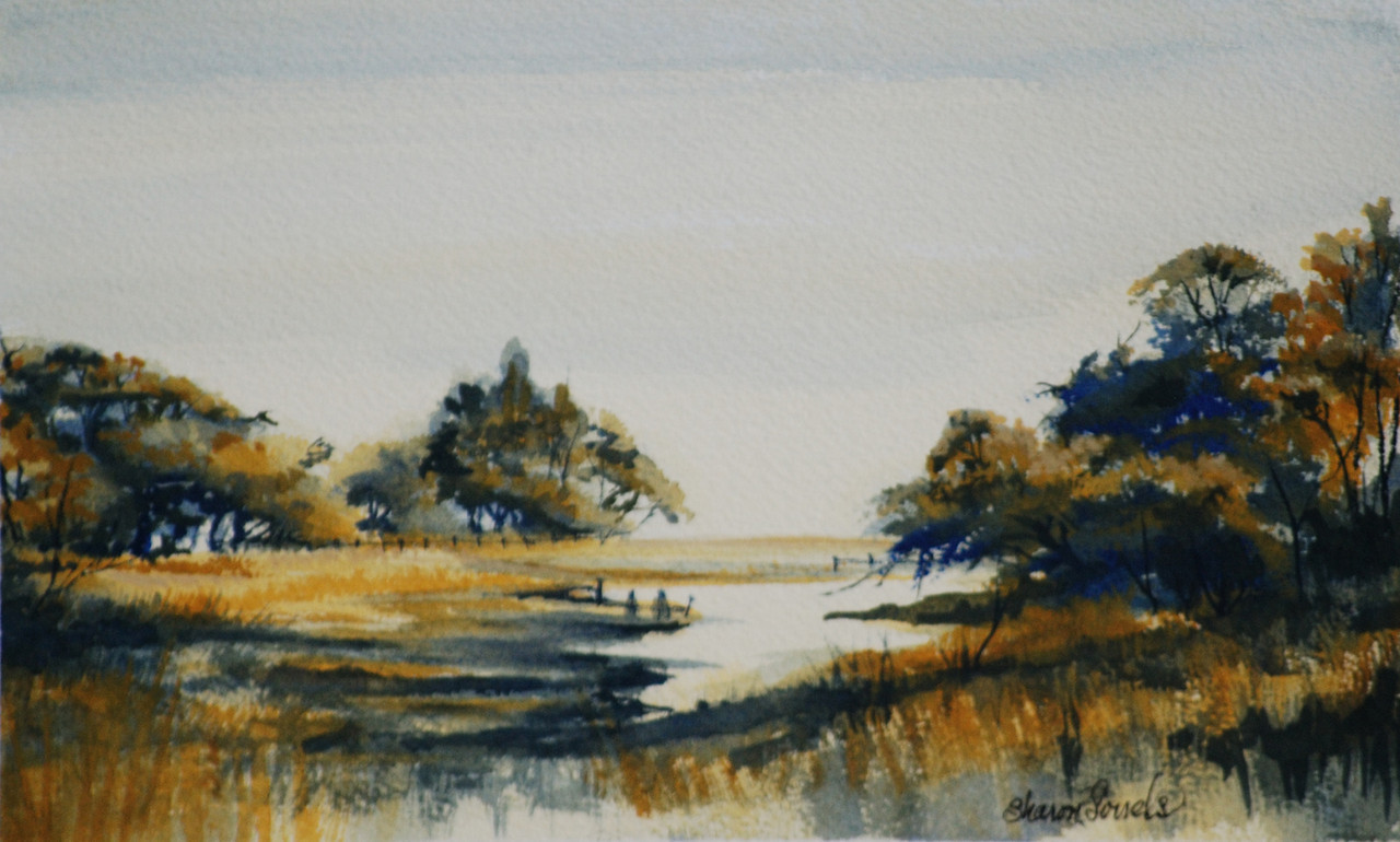 "Name: Marsh in Blue and Gold - SOLD<br /> Medium: Watercolor<br /> Size: 16 1/2 x 12 3/4<br /> Contact: Sharon Sorrels<br /> E-Mail: sorrelssf@usa.net <br /> To see more of Sharon's art or to make a purchase, go to  <a href=""http://www.sharonsorrels.com"">http://www.sharonsorrels.com</a>."