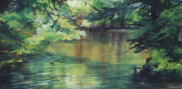 Name: Pond Shadows - SOLD Medium: Watercolor Size: 23 1/2 x 15 1/2 Contact: Sharon Sorrels E-Mail: sorrelssf@usa.net  To see more of Sharon's art or to make a purchase, go to www.sharonsorrels.com.