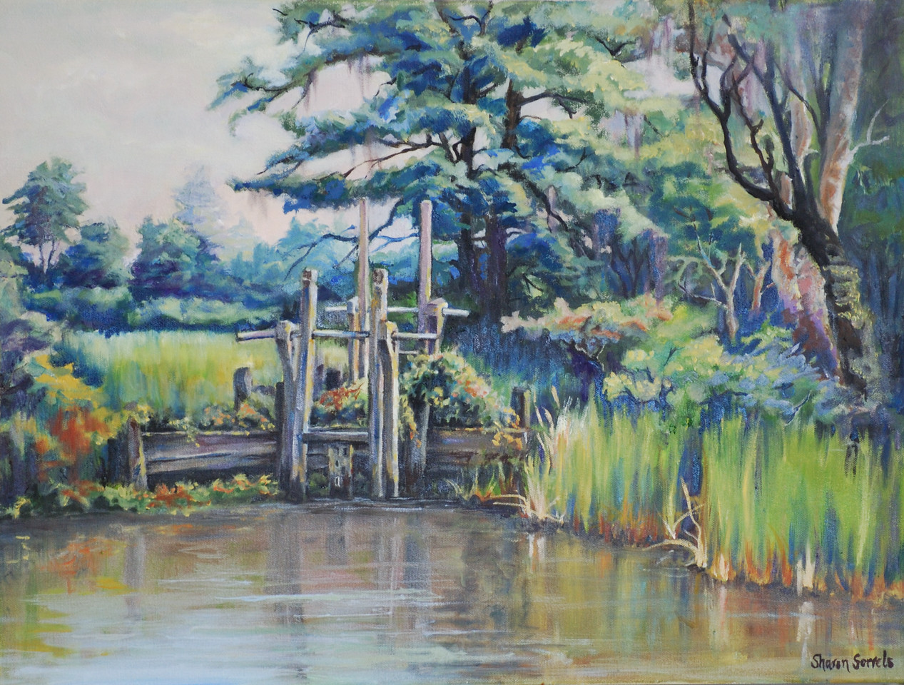 "Name: Old Rice Field Sluice Gate<br /> Medium: Oil on Canvas<br /> Size: <br /> Contact: Sharon Sorrels<br /> E-Mail: sorrelssf@usa.net <br /> To see more of Sharon's art or to make a purchase, go to  <a href=""http://www.sharonsorrels.com"">http://www.sharonsorrels.com</a>."