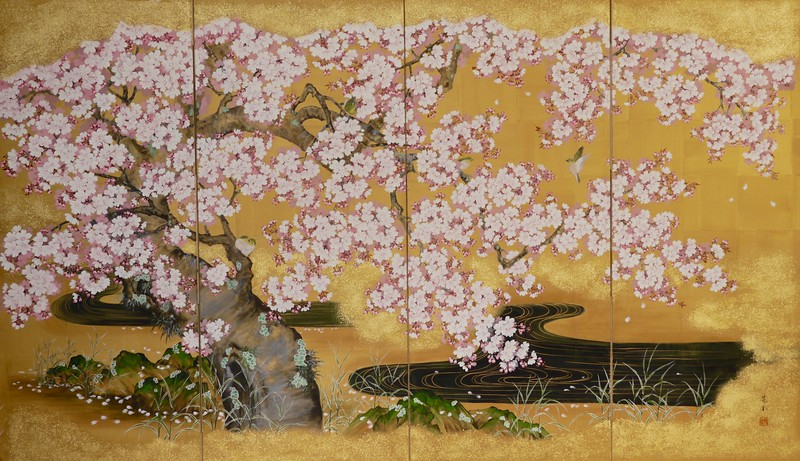 Suiko Ohta - White-eyes in Spring Blossoms 桜春に目白